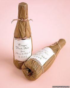 Half Bottles of Pinot Noir: Each bottle is wrapped in parchment paper. The labels, with calligraphy by Nancy Howell, were photocopied on heavy paper & tied on. Learn how to make wine labels on site / Martha Stewart