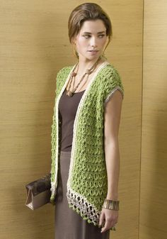 Crochet Vests Rosario Vest pattern by Randy Cavaliere -- plus sized available. Crochet Bolero, Cardigan Au Crochet, Gilet Crochet, Crochet Jacket, Knit Or Crochet, Crochet Scarves, Crochet Clothes, Crochet Vests, Crochet Sweaters