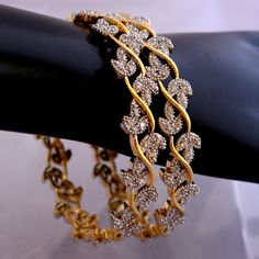 This is a beautiful pair of cubic zirconia stone bangles.