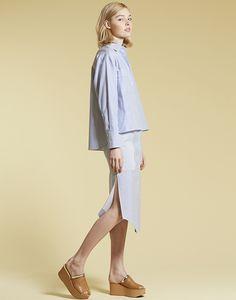 LE CIEL BLEU ラップシャツ/シャツスタイルタイトスカート/ウェッジサンダル