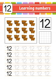 Trace And Write. Learning Numbers For Kids. Math Writing, Preschool Writing, Numbers Preschool, Preschool Letters, Learning Numbers, Writing Numbers, Number Worksheets Kindergarten, Sight Word Worksheets, Worksheets For Kids