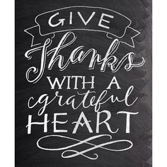 Give Thanks - Thanksgiving Chalkboard quote - hand lettering poster by Jazzy Chalks