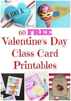 60 FREE Valentine's Day Class Card Printables | The Jenny Evolution