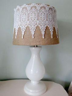 Burlap/Lace lampshade I made. Burlap/Lace lampshade I made. Shabby Chic Furniture, Shabby Chic Decor, Bedroom Furniture, Lace Lampshade, Lampshade Ideas, Crochet Lampshade, Doily Lamp, Vintage Lampshades, Shabby Chic Lamp Shades
