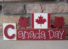 CANADA DAY BLOCKS with maple leafs and Canada flag blocks for table decor, desk, shelf, mantle, and party decor on Etsy, $32.99 CAD