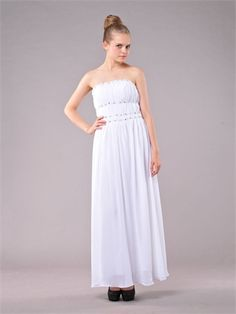 Cloumn Strapless Empire Beaded and Pleated Floor Length Chiffon Prom Dress PD1143