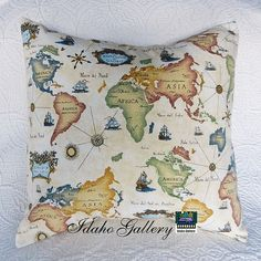 World Map Globe Geographic Pillow Cover by Idaho by IdahoGallery, $18.50
