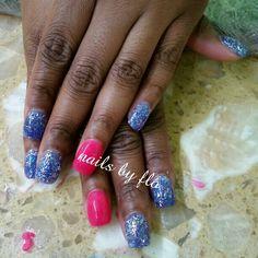 Pink & blue glitter acrylic nails