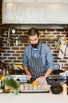 Beard kinfolk guy in apron Food Photography Styling, Food Styling, Gastronomy Food, Waffle House, Chef Apron, Butcher Shop, Apron Designs, Kinfolk, Food Presentation