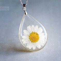 Botanical pendant -Real White Daisy Botanical Teardrop Resin Pendant. $40.00, via Etsy.