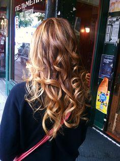 Copper ombré by Laurel of Salon d' Artiste. Ombré, long hair, red hair, copper, balayage.