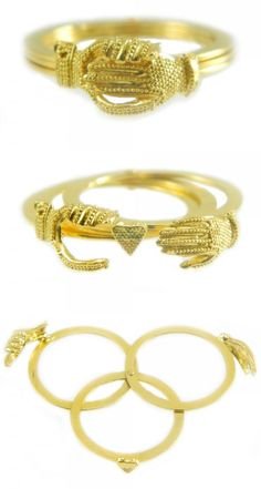 Anello Maninfide, fede sarda in oro giallo. Claddagh, Bangles, Bracelets, Piercing, Gold Rings, Jewelery, Ring Ring, Beautiful Things, Style