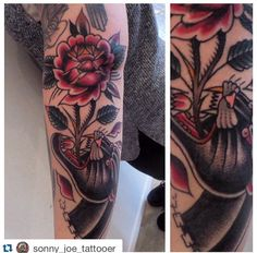 """Tattoo by Sonny Joe! For an appointment contact """"skinsandneedles @ live . co . uk""""  #tattoo #tattooart #tattooist #tattooartist #skinsandneedles #skinsandneedlestattoo #middlesbrough #teesside #traditional #traditionaltattoo #panthertattoo #rosetattoo"""