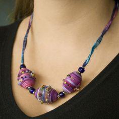 Textile Jewellery, Fabric Bead Necklace