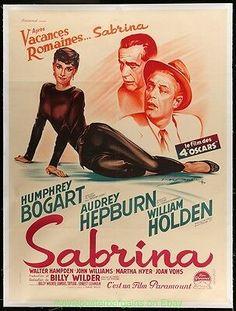 SABRINA MOVIE POSTER French Grande Size 47x63 In. AUDREY HEPBURN HUMPHREY BOGART