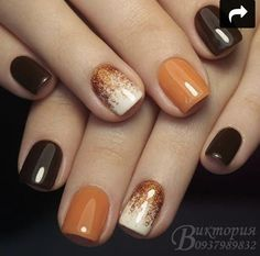 Trendy Manicure Ideas In Fall Nail Colors;Orange Nails; - # Trendy Manicure Ideas In Fall Nail Colors;Orange Nails; Light Colored Nails, Light Nails, Fall Nail Art Designs, Acrylic Nail Designs, Orange Nail Designs, Square Nail Designs, Cute Nails For Fall, Fall Toe Nails, Spring Nails