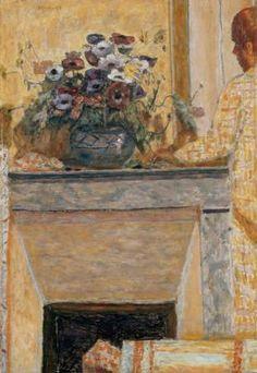 Pierre Bonnard, Fleurs sur une cheminée au Cannet, 1927 - Travaillée en petites touches vibrantes, la toile évoque la douceur d'un instant matinal baigné d'une chaude lumière [...] l'artiste se concentre sur l'instant et la construction d'un espace mental où le présent semble éternel.