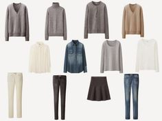 The Common Wardrobe in grey and off-white, with a camel sweater, for a person who would like to move away from black.