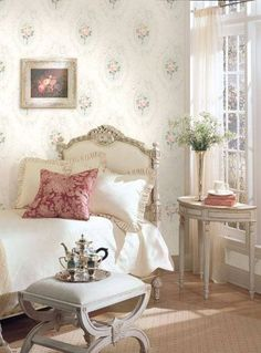 Airy and light French cottage bedroom!