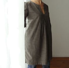 Dress or Tunic  My Garden  Taupe Brown color by IsabelAmyo on Etsy, $135.00