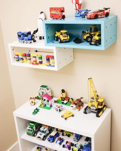 LEGO SHELF It's another HTS playroom tour! This corner is set up just for my little Lego lover at home to display his Lego creations which he is so proud of. He spends a lot of time building here and telling me stories about the machines and vehicles he built. We are on our way back home today after 2 weeks of traveling and I'll be back to post more photos of this shelf later this week. Meanwhile check out the other shelves in our playroom using the hashtag #htsplayroom. How do u display/...