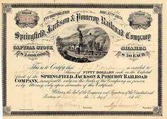 Springfield, Jackson & Pomeroy Railroad 18 shares à 50 $ 3.10.1878.