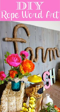 DIY Rope Word Art how to from MichaelsMakers Design Dazzle (Mix Chicks Chicken Feed) Easy Diy Gifts, Easy Crafts, Diy And Crafts, Crafts For Kids, Adult Crafts, Diy Wall Art, Diy Art, Farm Party, Cool Diy Projects