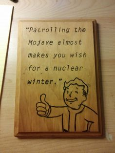 Just played through FNV for the first time - my wood burned fan art