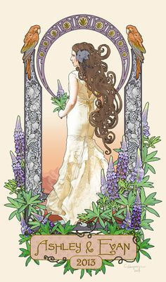 Art Nouveau Bride - An art nouveau style photo manipulation done as a wedding present for a private client. www.cassiopeiaart.com