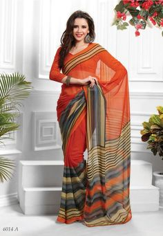#Orange & Gray Colour Printed #Saree  Orange & Gray ,printed fashion saree, has contrast print detail along the borders Comes with a blouse piece.Length: 5.5 metres plus 0.80 metre blouse piece.This Saree weared at small event parties like birthday celebrations and similar occassions. Available in 35% Discount @aimdeals