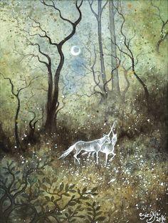 Rencontre Art Print by Sieskja - X-Small Painting Inspiration, Art Inspo, Illustrations, Illustration Art, Halloween Painting, Fairytale Art, Fairy Art, Whimsical Art, Pretty Art