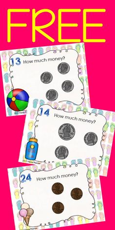24 FREE BEAUTIFUL task cards with a bright summer theme are just waiting to be a part of your summer classroom. These task cards are perfect for reviewing counting money. Your students will see pennies, nickels, dimes, and quarters.