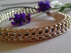 Handmade Persian Chain Maille with Silver wire and by LaSolis, Handmade Jewelry, Unique Jewelry, Handmade Gifts, Bangles, Bracelets, Chainmaille, Persian, Wire, Gems