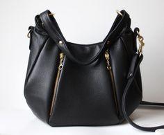 Black Leather bag purse - OPELLE Ballet Bag - Soft Pebbled Leather w Zipper Pockets $254