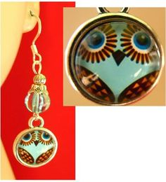 Silver Owl Glass Charms Earrings