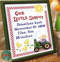 Baby+Tractor+Cross+Stitch+Pattern | Craft: Counted Cross Stitch Title: On the Farm Birth Record By: The ...