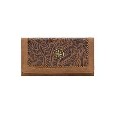 American West Guns And Roses Flap Wallet - Medium Brown/Chestnut SKU#B699218