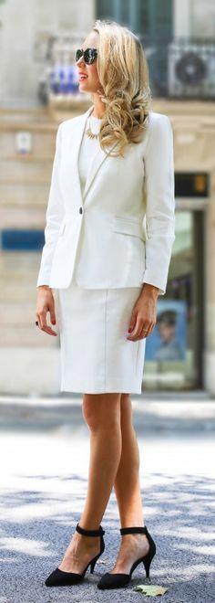 white sheath dress trilogy part II: conservative monochromatic look