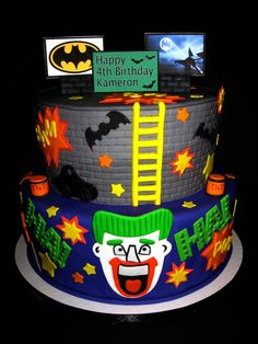 "joker birthday cake | 10"" Cakes iced in butter cream then covered in vivid fondant. All ..."
