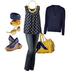 Navy and yellow love- love the bag!!!!!