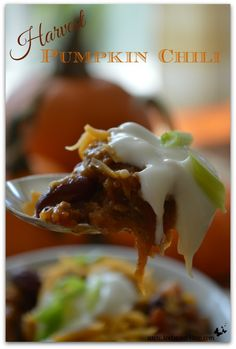 Harvest Pumpkin Chili - visit www.tootsweet4two.com for this scrumptious recipe!