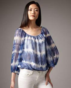 NEW Alice Olivia Alta Tie-Dye Peasant Top blue white silk M  #AliceOlivia #pleasanttop #Casual