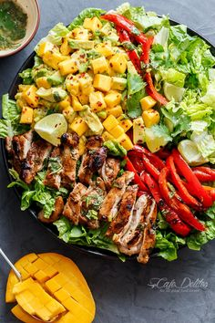 cilantro lime chicken salad with a mango and avocado salsa! holding onto summer for a just a bit longer, this cilantro lime chicken salad has so much flavour in it with a creamy/sweet mango avocado salsa for an extra summer feel! Easy Summer Salads, Summer Salad Recipes, Easy Salads, Healthy Summer, Salmon Salad Recipes, Best Salad Recipes, Juice Recipes, Spring Recipes, Mango Avocado Salsa