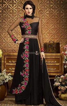 Embroidered Black Modern Style Long Designer Suit In Georgette. It Is Patterned With Full Sleeves, Floral Embroidery, Open Back, Floral Work & Spaghetti Neck For Function. http://www.designersandyou.com/dresses/designer-dresses #LadiesDesignerDresses #LatestDesignerDress #LatestDesignerDresses #NewDesignerDresses #Embroidery #Cape #Indowestern #Designer # Dresses #Dress #Suits #Work #FrontSlitCu # Outfits #Gowns #Couture #Drape #AnarkaliDesignerDress #BestDesignerDresses #DesignerDress