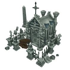 Cemetery Starter Set - Low Poly 3D Model