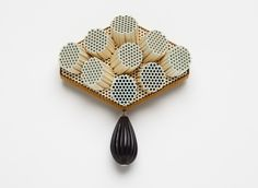 Christel van der Laan - Anemone Brooch - Ceramic honeycomb,powder coated stlg silver, vintage lucite bead