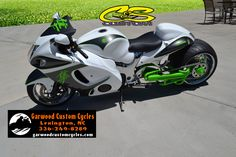 2011 Custom Suzuki Hayabusa (1300)With A Custom C&S 360 Single Side Wide Fat Tire Kit, With Custom White/Silver/Neon Green Paint (By GCC) Chrome Wheels, Lowered, Voodoo Exhaust, Custom Painted Shield To Match, Custom Painted Mirrors, Custom Painted Seat Cowl, Painted Frame Covers To Match, Chrome Pegs And Brackets, ***3,944 Miles****
