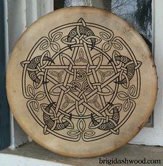 Hand-painted playable Bodhran Drum - Celtic Moon Pentacle by Brigid Ashwood http://www.brigidashwood.com/painted-drums/