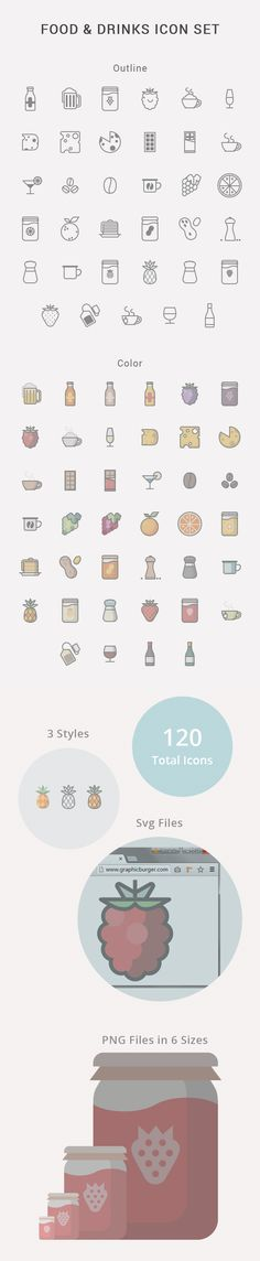 food drinks icon set by iconshock