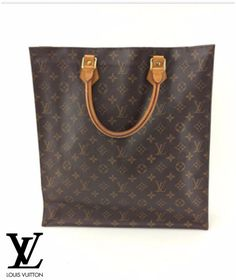 Vintage Louis Vuitton Monogram Canvas Leather Sac Plat double handles Tote Bag.. #LouisVuitton #ToteBag